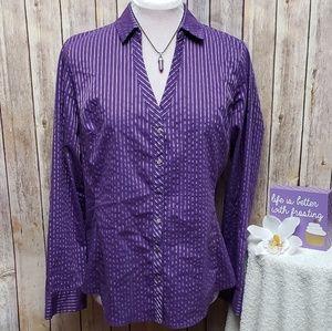 NEW YORK & CO Purple pinstripe snap button top